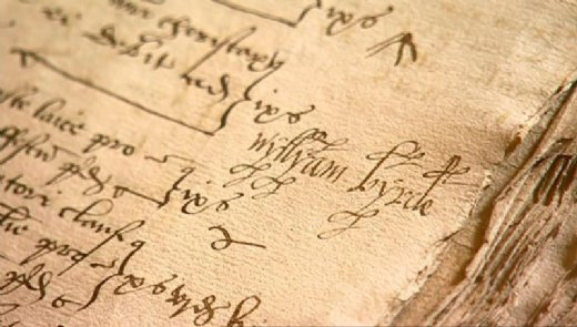 Firma de William Byrd conservada en los libros del registro de la catedral de Lincoln, custodiados en la Wren Library [extraída del documental Playing Elizabeth Tune, BBC & Gimell. Oxford, 2004]