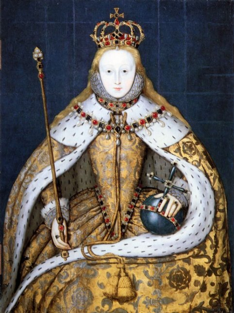 Retrato de Elizabeth I durante su coronación [anónimo; copia de entre 1600-1610 del original de 1559; National Portrait Gallery, London]